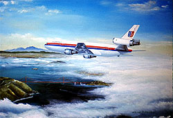 United Airlines DC-10 over SFO 11x14 Canvas