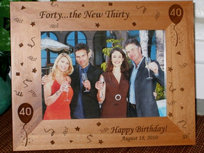 40th Birthday Picture Frame - Personalized Frame - Laser Engraved Birthday Theme