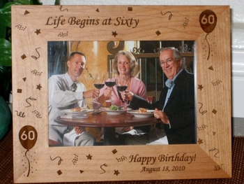 60th Birthday Picture Frame - Personalized Frame - Laser Engraved 60th Birthday Theme