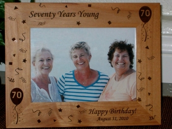 70th Birthday Picture Frame - Personalized Frame - Laser Engraved 70th Birthday Theme