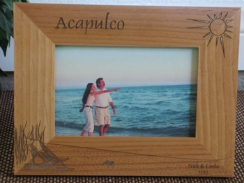 Acapulco Picture Frame - Personalized Frame - Laser Engraved Beach Theme