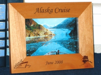 Alaska Cruise Ship Picture Frame - Personalized Frame - Laser Engraved Alaska & Cruise Ship