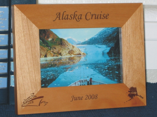 Alaska Cruise Ship Picture Frame - Personalized Souvenir Frame - Laser Engraved Alaskan Cruise