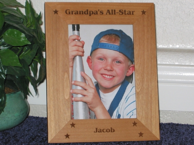 All Star Picture Frame - Personalized Frame - Laser Engraved Stars