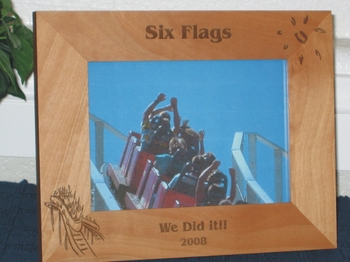 Amusement Park Picture Frame - Personalized Frame - Laser Engraved Roller Coaster
