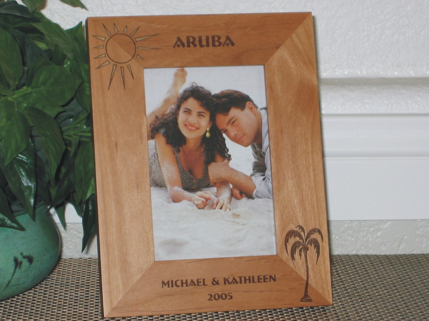 aruba picture frame personalized frame laser engraved palm tree