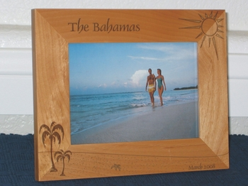 Bahamas Picture Frame - Personalized Souvenir Frame - Laser Engraved Beach Theme with Palms