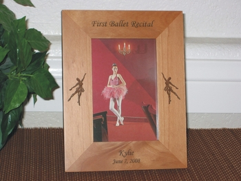 Ballerina Picture Frame - Personalized Frame - Laser Engraved Ballerinas