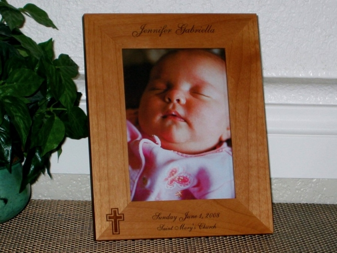 Baptism Picture Frame - Personalized Frame - Laser Engraved First Communion