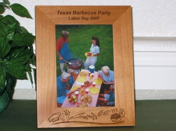 Barbecue Picture Frame - Personalized Frame - Laser Engrave Barbecue Party Theme