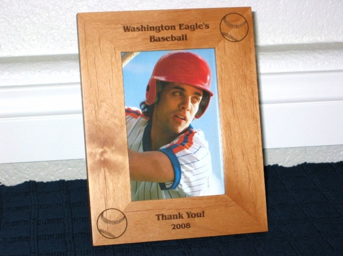 Baseball Picture Frame - Personalized Frame - Laser Engraved Large Baseballs