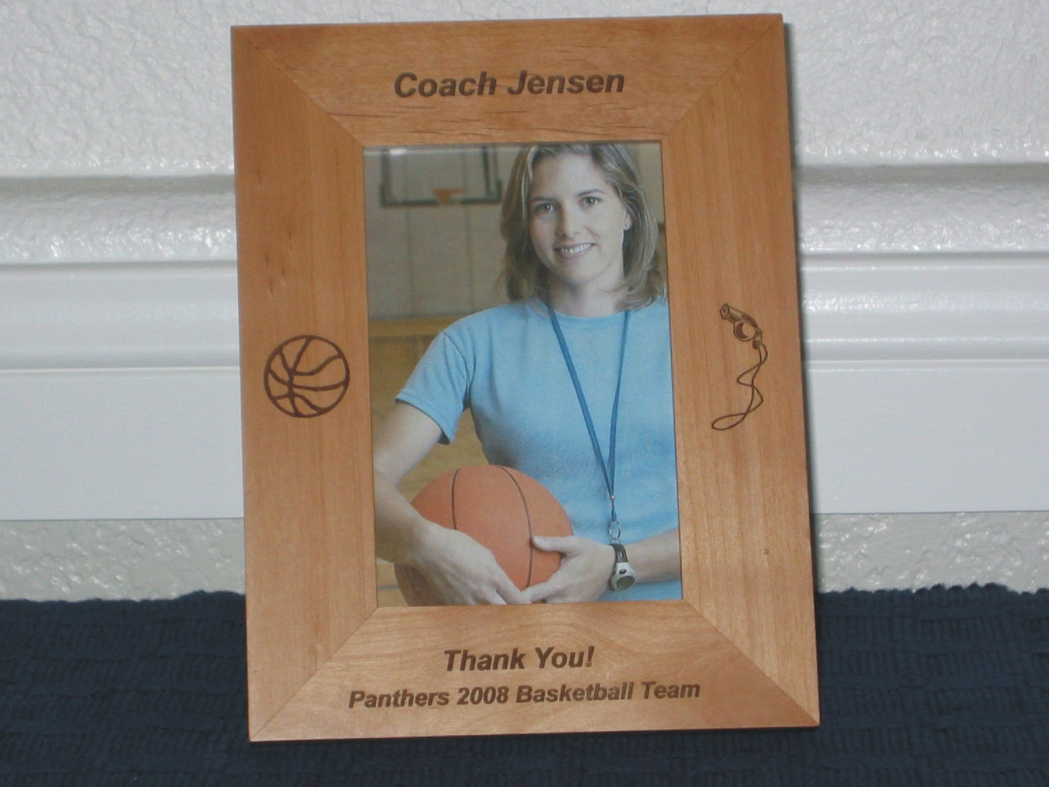 Basketball coach picture frame personalized gift frame laser basketball coach picture frame personalized gift frame laser engraved basketball and whistle jeuxipadfo Gallery