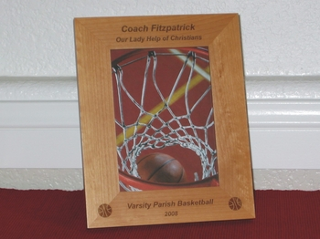 Basketball Picture Frame - Personalized Coach Frame - Laser Engraved Basketball Gift