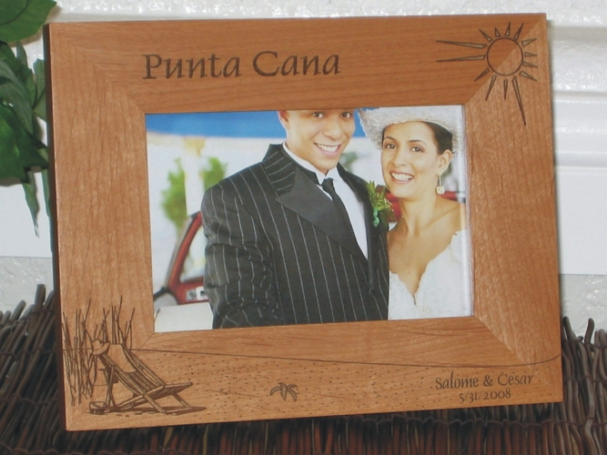 Beach Wedding Picture Frame - Personalized Frame - Laser Engraved Beach Theme - Beach Wedding Favors