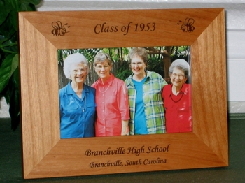 Bee Picture Frame - Personalized Frame - Laser Engraved Bee/Yellow Jackets