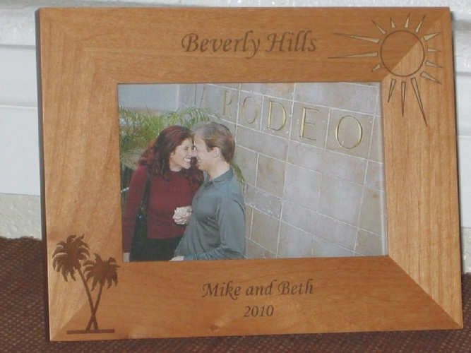 Berverly Hills Picture Frame - Personalized Frame - Laser Engaved Palm & Sun
