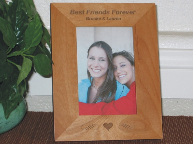 Best Friends Picture Frame - Personalized Frame - Laser Engraved Heart