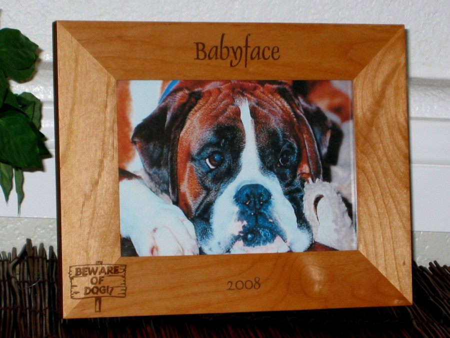 Beware of Dog Picture Frame - Personalized Frame - Laser Engraved ...