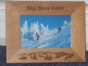 Big Bear Lake Picture Frame - Personalized Frame - Laser Engraved Mountains