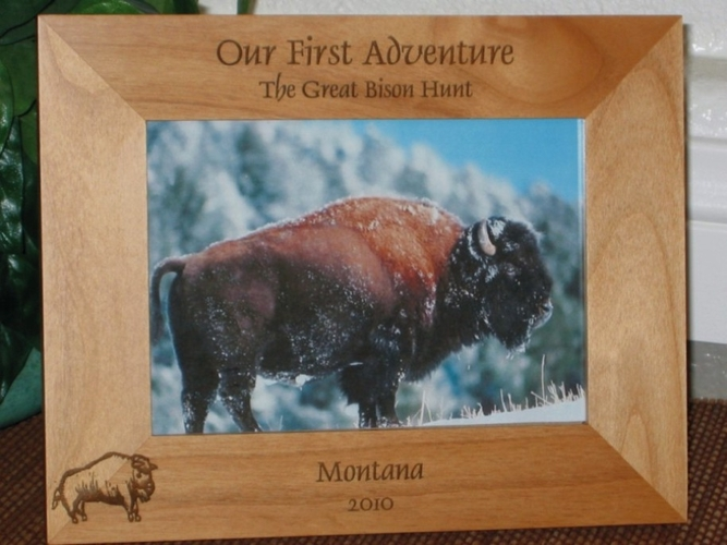 Bison Picture Frame - Personalized Frame - Laser Engraved Bison