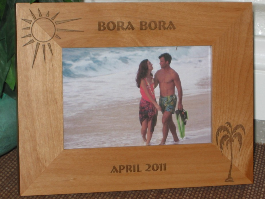 Bora Bora Picture Frame - Personalized Frame - Laser Engraved Palm & Sun