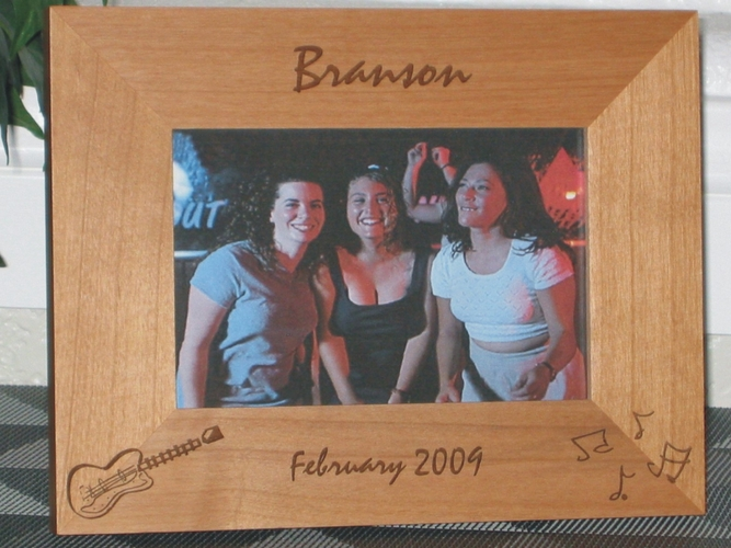 Branson Picture Frame - Personalized Frame - Laser Engraved Guitar & Music Notes