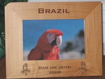 Brazil Picture Frame - Personalized Frame - Laser Engraved Macaws