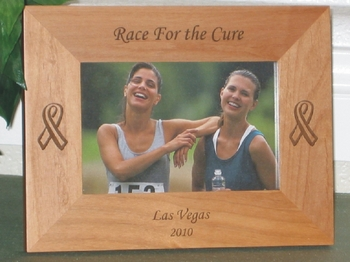 Breast Cancer Picture Frame - Personalized Frame - Laser Engraved Cancer Ribbon