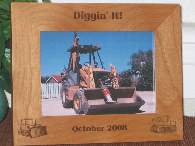 Bull Dozer Picture Frame - Personalized Frame - Laser Engraved Bull Dozer and Excavator