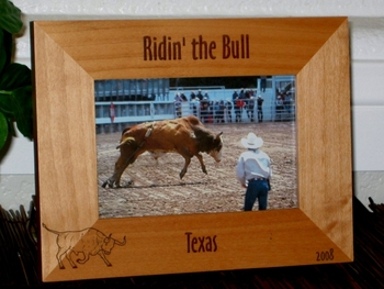 Bull Picture Frame - Personalized Frame - Laser Engraved Bull