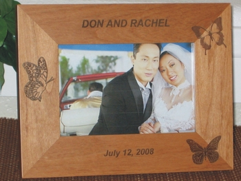 Butterfly Theme Wedding Picture Frame - Personalized Frame - Laser Engraved Butterflies