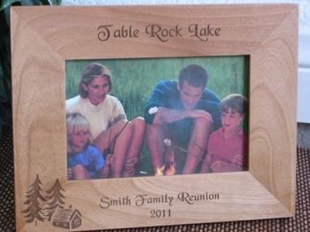 Cabin Picture Frame - Personalized Frame - Laser Engraved Cabin & Pine Trees