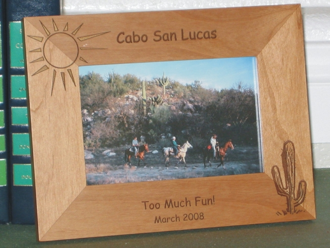 Cactus Picture Frame - Personalized Frame - Laser Engraved Cactus & Sun