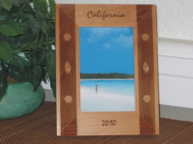 California Picture Frame - Personalized Frame - Laser Engraved Seashell Boarder
