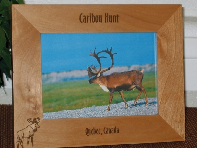 Caribou Hunting Picture Frame - Personalized Frame - Laser Engraved Caribou