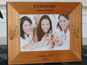 Champagne Picture Frame - Personalized Frame - Laser Engraved Champagne Bottle Toast