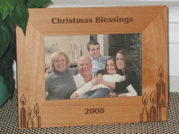 Christmas Candles Picture Frame - Personalized Frames - Laser Engraved Christmas Chandles