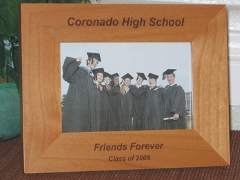Class of 2009 Gift Picture Frame - Personalized Graduation Frame - Laser Engraved Text
