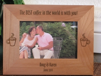 Coffee Picture Frame - Personalized Frame - Laser Engraved Coffee Cups