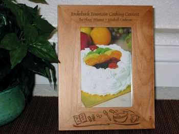 Cooking Theme Picture Frame - Personalized Frame - Laser Engraved Baking Theme