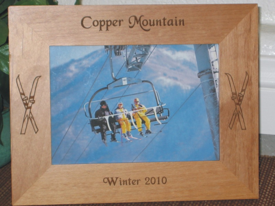 copper mountain picture frame personalized frame laser engraved skiis - Engraved Frame