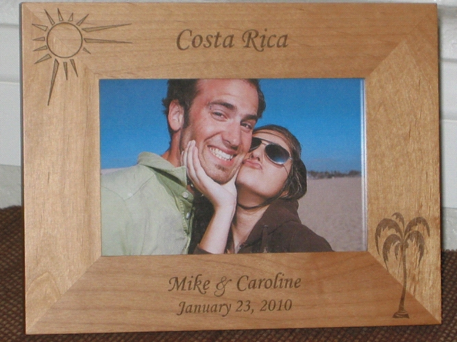 Costa Rica Picture Frame - Personalized Frame - Laser Engraved Palm & Sun
