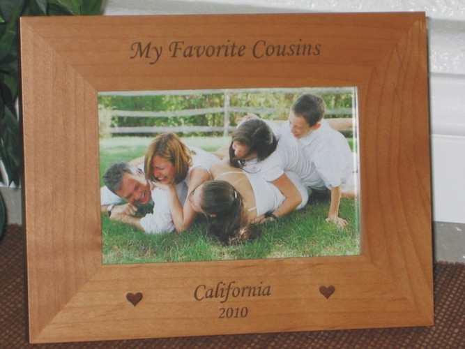 Cousins Picture Frame - Personalized Frame - Laser Engraved Hearts