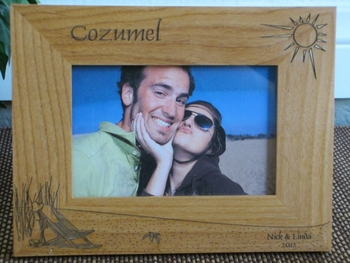Cozumel Picture Frame - Personalized Frame - Laser Engraved Beach Theme