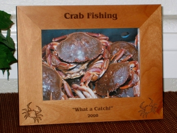 Crab Picture Frame - Personalized Frame - Laser Engraved Crabs
