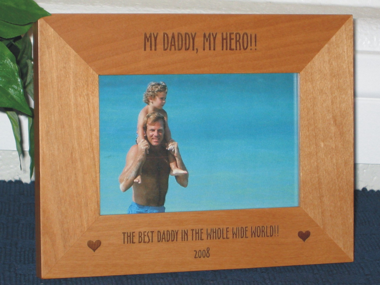 Daddy Hero Picture Frame - Personalized Frame - Laser Engrave Hearts ...