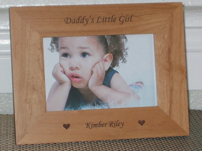 Daddys Little Girl Picture Frame - Personalized Frame - Laser Engraved Hearts