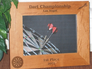 Dart Picture Frame - Personalized Frame - Laser Engraved Dart Boart and Dart