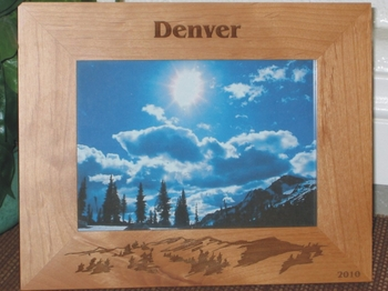 Denver Picture Frame - Personalized Frame - Laser Engraved Mountains
