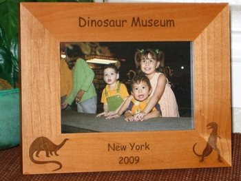 Dinosaur Picture Frame - Personalized Frame - Laser Engraved Dinosaurs